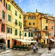 Cinque Terre - Vernazza Main Street - Vintage Version Art Print