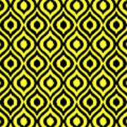 Circle And Oval Ikat In Black N05-p0100 Art Print