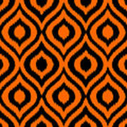 Circle And Oval Ikat In Black T03-p0100 Art Print