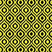 Circle And Oval Ikat In Black T05-p0100 Art Print