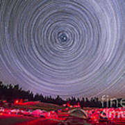 Circumpolar Star Trails Above The Table Art Print