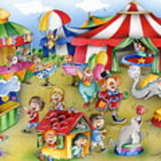 Circus In Town Art Print
