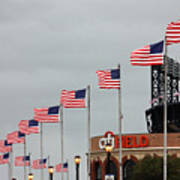 Citifield And American Flags Art Print