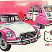 Citroen Dyane Hello Kitty Art Print