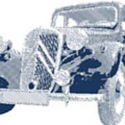 Citroen Traction Avant  - Parallel Hatching Art Print