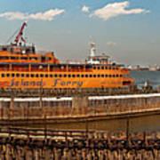 City - Ny - The Staten Island Ferry - Panorama Art Print