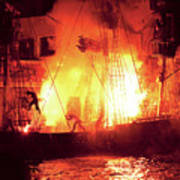 City - Vegas - Treasure Island - Explosion Abandon Ship Art Print