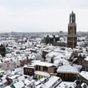City Centre Of Utrecht With The Dom Tower In Winter Art Print