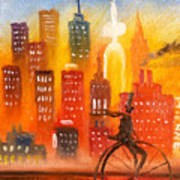 City Cycle In The Warm Evening Art Print