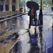 City Evening Rain Art Print