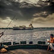 City Fishing Art Print