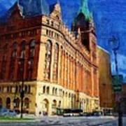 City Hall And Lamp Post Art Print