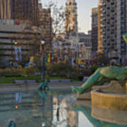 City Hall Reflecting In Swann Fountain Art Print