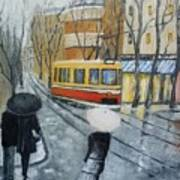 City In Rain Art Print