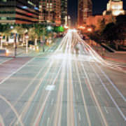 City Light Trails On Street In Downtown Art Print by Eric Lo