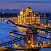 City Of Budapest At Twilight Art Print
