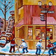 City Of Montreal St. Urbain And Mont Royal Beautys With Hockey Art Print