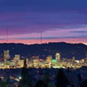 City Of Portland Oregon Skyline At Twilight Art Print