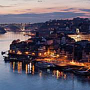 City Of Porto In Portugal At Dusk Art Print