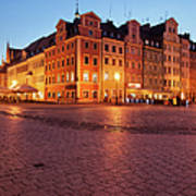 City Of Wroclaw Old Town Market Square At Night Art Print