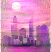 City On Night View Art Print