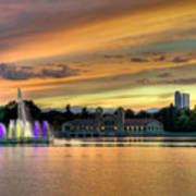 City Park Fountain At Sunset Print by Stephen  Johnson