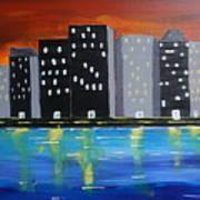 City Scape_night Life Art Print