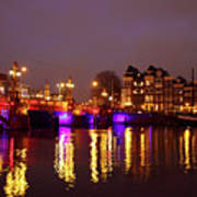City Scenic From Amsterdam With The Blue Bridge In The Netherlands Art Print