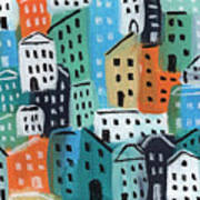 City Stories- Blue And Orange Art Print