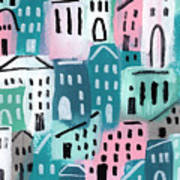 City Stories- Church On The Hill Art Print