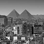 Cityscape Of Cairo, Pyramids, Egypt Art Print