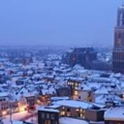 Cityscape Of Utrecht With The Dom Tower  In The Snow 13 Art Print