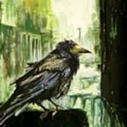 Cityscape With A Crow Art Print