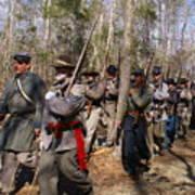 Civil War Soldiers March Through Woods Art Print