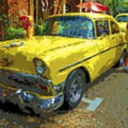 Classic 56 Chevy Car Yellow  Art Print