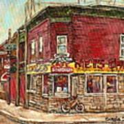Classic Chinese Restaurant Montreal Memories Silver Dragon Canadian Paintings Carole Spandau         Art Print