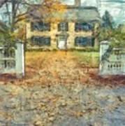 Classic Colonial Home In Autumn Pencil Art Print