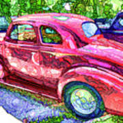Classic Red Vintage Car Art Print