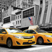 Classic Street View Of Yellow Cabs In New York City Art Print