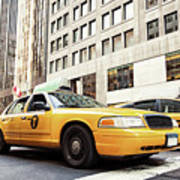 Classic Street View With Yellow Cabs In New York City Art Print