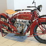 Classic Vintage Indian Motorcycle Red   # Art Print