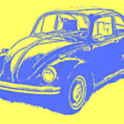 Classic Vw Beetle Tee Blue Ink Art Print
