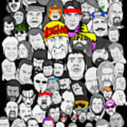 Classic Wrestling Superstars Art Print by Gary Niles