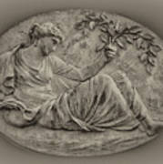 Classical Greek Woman Fresco Art Print by Bill Cannon