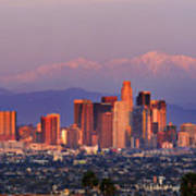 Classical View Of Los Angeles Downtown Art Print