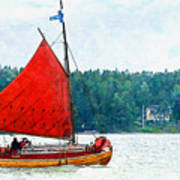 Classical Wooden Boat Tacksamheten Art Print