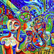 City At Night Music And Wine Abstract Art Print