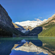 Clear Reflections In The Water At Lake Louise, Canada. Art Print