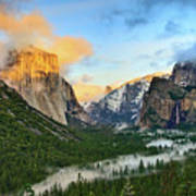 Clearing Storm - View Of Yosemite National Park From Tunnel View. Art Print