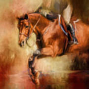 Clearing The Jump Equestrian Art Art Print